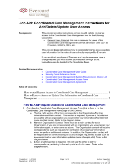 Coordinated Care Management Access Instructions(Add/Delete