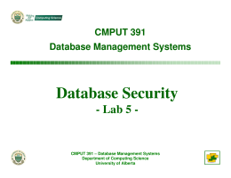 Database Security - University of Alberta