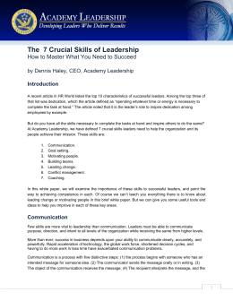 The 7 Crucial Skills of Leadership