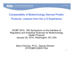 Comparability of Biotechnology Derived Protein Products
