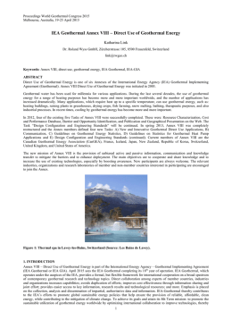 IEA Geothermal Annex VIII – Direct Use of Geothermal Energy