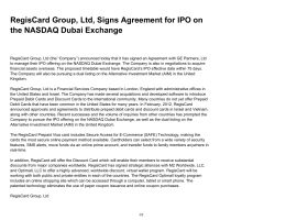 RegisCard Group, Ltd, Signs Agreement for IPO on the