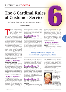 The 6 Cardinal Rules of Customer Service