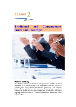 ch 2 - Traditional and Contemporary Issues and Challenges