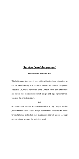 Service Level Agreement - Institute of Business Administration