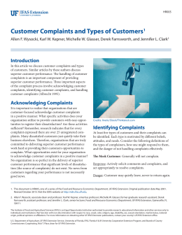 Customer Complaints and Types of Customers - EDIS