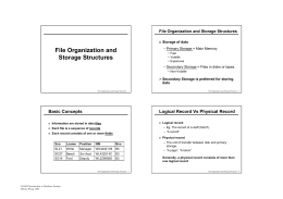 File Organization and Storage Structures