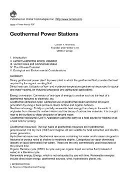 Geothermal Power Stations