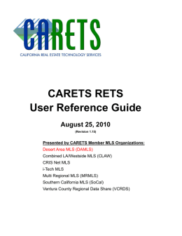 CARETS RETS User Reference Guide