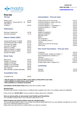MASTA Price List - MASTA Travel Health