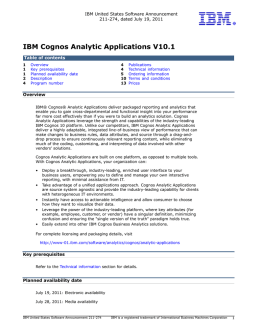 IBM Cognos Analytic Applications V10.1