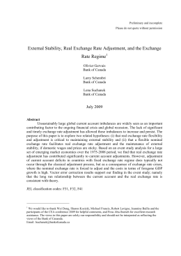 External Stability, Real Exchange Rate Adjustment, and the