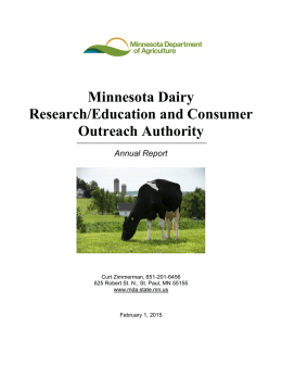 Minnesota Dairy Research/Education and Consumer Outreach