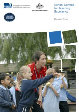 School Centres for Teaching Excellence Discussion Paper