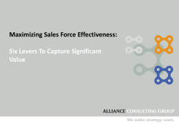 Maximizing Sales Force Effectiveness: Six Levers To Capture