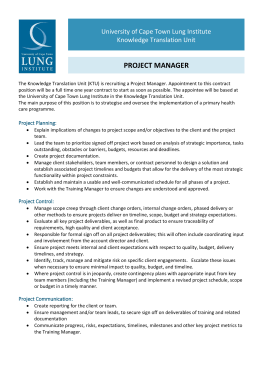 PROJECT MANAGER - University of Cape Town