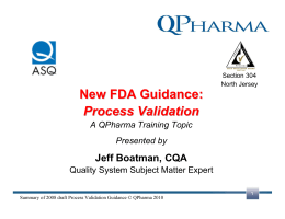 New FDA Guidance: Process Validation