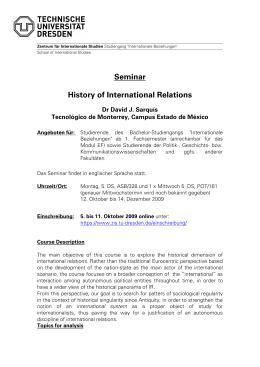 Seminar History of International Relations