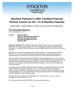 Stockton Partners to Offer Certified Financial Planner Course on Oct