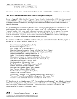 CFP Board Awards $875,567 In Grant Funding to 20 Projects