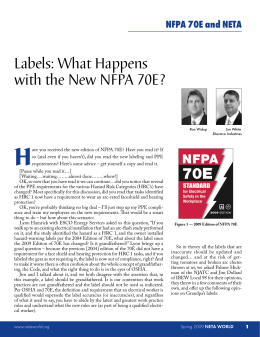 Labels: What Happens with the New NFPA 70E?