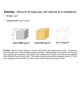 Amount of mass per unit volume of a substance.