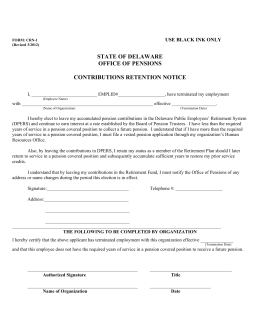 Contribution Retention Notice - State of Delaware