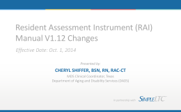 Resident Assessment Instrument (RAI) Manual V1.12