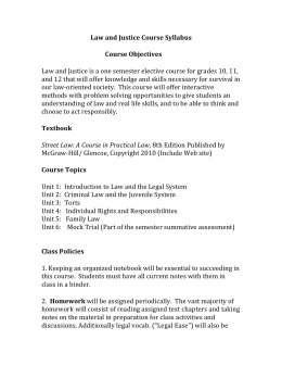 Law and Justice Course Syllabus Course Objectives