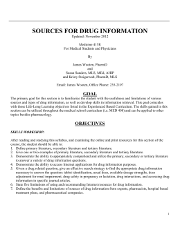Sources for Drug Information