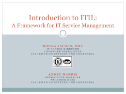 An Introduction to ITIL: A framework for managing IT services