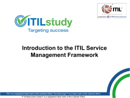 APMG Study: Introduction to the ITIL Service Management Framework
