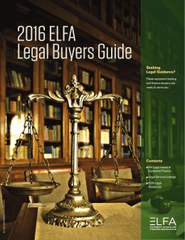 2016 ELFA Legal Buyers Guide - Equipment Leasing and Finance