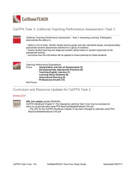 CalStateTEACH Term Four Study Guide, CalTPA Task 3