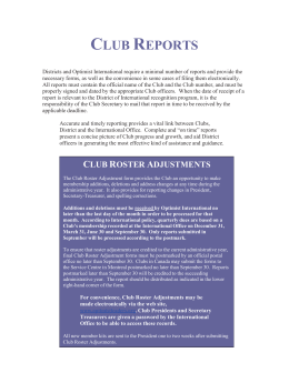 club reports - Optimist Leaders Online