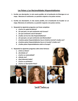 Worksheet Los Hispanohablantes