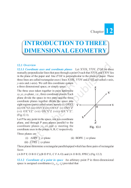 Chapter 12 INTRODUCTION TO THREE DIMENSIONAL GEOMETRY