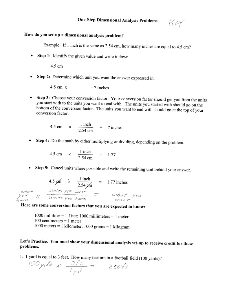 One-Step Dimensional Analysis Problems How do you Throughout Dimensional Analysis Practice Worksheet