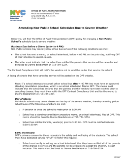 Amending Non-Public School Schedules Due to - Opt