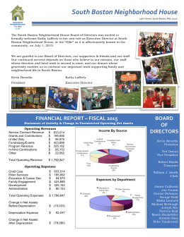FY 2015 Annual Report - South Boston Neighborhood House