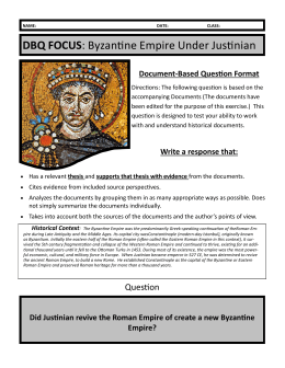 DBQ FOCUS: Byzantine Empire Under Justinian - PHS
