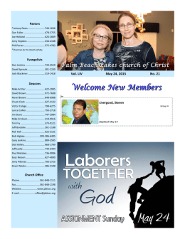 Vol. LIV May 24, 2015 No. 21 - Palm Beach Lakes church of Christ
