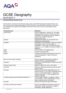 GCSE Geography Teaching guidance Command Words