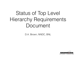 "SG38-3: ""Status of Top Level Hierarchy Requirements Document"""