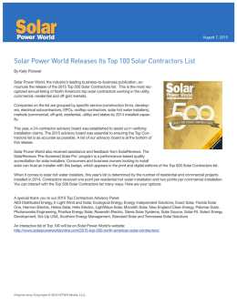 Solar Power World Releases Its Top 100 Solar Contractors