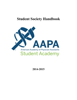 Student Society Handbook - American Academy of Physician