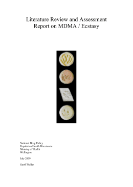 Literature Review and Assessment Report on MDMA / Ecstasy
