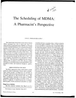 "The Scheduling of MDMA: "". A Pharmacist`s Perspective"