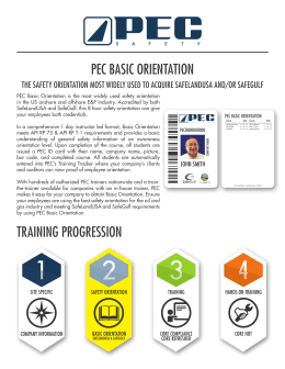 pec basic orientation training progression