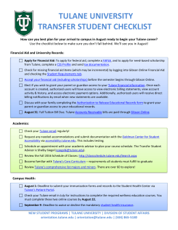 TULANE UNIVERSITY TRANSFER STUDENT CHECKLIST